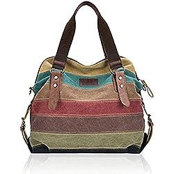 Tanchen Women Casual Stripe Canvas Handbags Leather Shoulder Bags Crossbody Bags