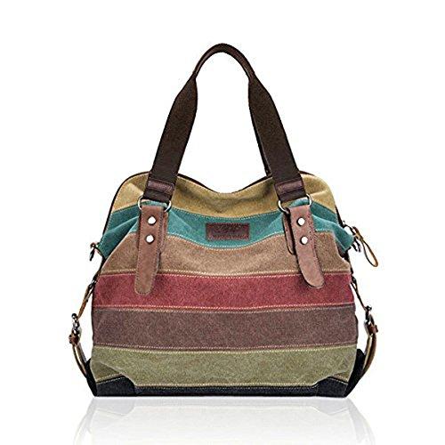[Tanchen Women Casual Stripe Canvas Handbags Leather Shoulder Bags Crossbody Bags] (Sale On Purses)