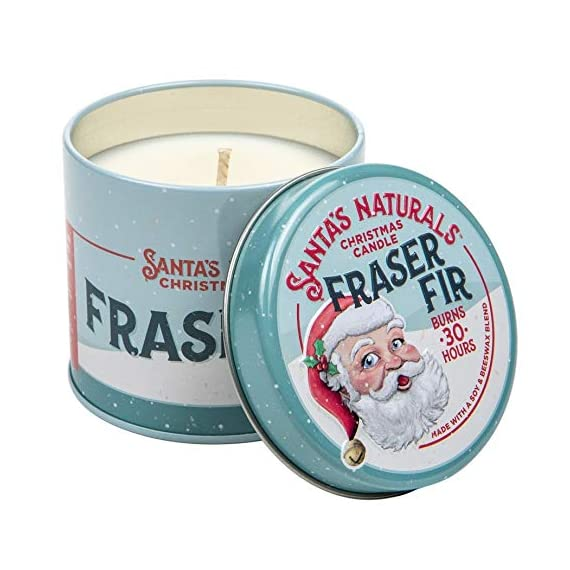 Santa's Naturals Fraser Fir Christmas Candle | Fresh Cut Christmas Tree Fragrance | Made with a Soy/Beeswax Blend | 30… - CHRISTMAS TREE SCENT: Notes of Fraser Fir and Cedarwood create a nostalgic scent of a fresh-cut Christmas tree in your home INGREDIENTS: Soy Wax, Beeswax, Plant Based Essential Oils, and Premium Fragrance Oils LONG-LASTING: Enjoy up to 30 hours of burn time with our 9oz Fraser Fir Candles - living-room-decor, living-room, candles - 51YWYJKHTPL. SS570  -