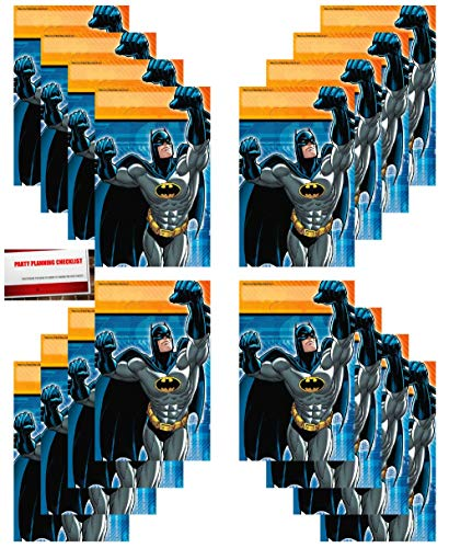 Batman Party 16 Pack Plastic Loot Treat Candy Favor Bags (Plus Party Planning Checklist by Mikes Super Store)]()