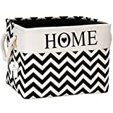 Sea Team 16'' x 12'' Foldable Square New Black and White Theme 100% Natural Linen & Cotton Fabric Storage Bins Storage Baskets Organizers for Shelves, Chests & Desks (Large)