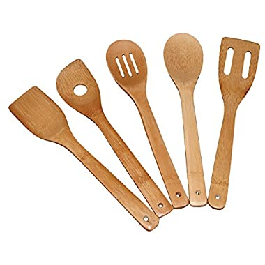 Totally Bamboo 5-Piece Utensil Set ♻, Includes: 5 Unique Pieces 100% Organic Bamboo… Kitchen & Serving Tools + The Healthy Alternative: ❶Turner, ❷Slotted Spatula, ❸Spoon, ❹Single Hole ❺Mixing Spoon