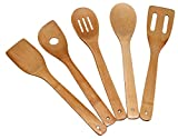 Totally Bamboo 5-Piece Utensil Set ♻, Includes: 5 Unique Pieces 100% Organic Bamboo… Kitchen & Serving Tools + The Healthy Alternative: ❶Turner, ❷Slotted Spatula, ❸Spoon, ❹Single Hole ❺Mixing Spoon (Kitchen)