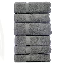 Luxury Hotel & Spa Towel 100% Genuine Turkish Cotton (Hand Towel  - Set of 6, Gray)