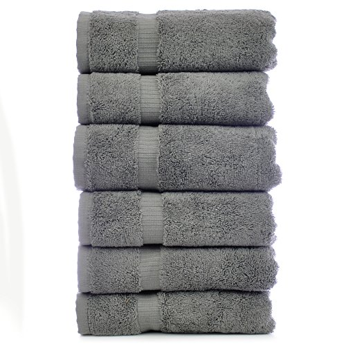 Chakir Turkish Linens Turkish Cotton Luxury Hotel & Spa Bath Towel, Hand Towel - Set of 6, Gray