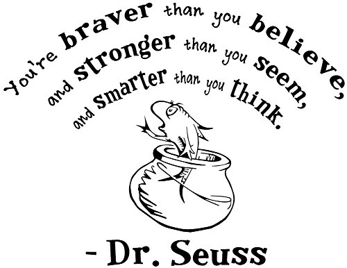 WallDecalsAndArt You're braver than you believe Dr Seuss Removable Wall Decals - 17 by 22 Inch - Ice Blue
