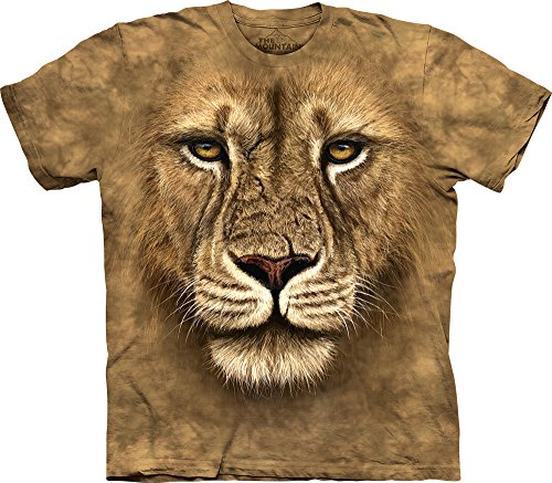 Lion Face Tee - The Mountain Lion Warrior Adult T-Shirt, Brown, Medium