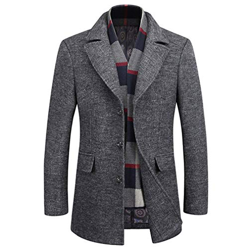 WULFUL Men's Wool Trench Coat Winter Slim Fit Pea Coat with Free Removable Plaid Scarf (Pea Coat Trench Coat)