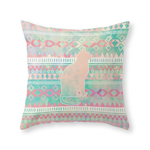 Society6 Whimsical Cat, Pink Turquoise Girly Aztec Pattern Throw Pillow Indoor Cover (20