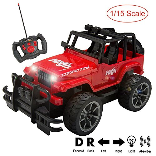 1/15 Scale Super Duty Radio Remote Control Jeep Vehicle Off Road Powerful Cross Country SUV All Terrain Car with Lights & Sounds, Great Gift for Kids ( Red ) - Cross Country Vehicle