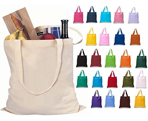 Cotton Tote Bag - Set of 24 Blank Cotton Tote Bags Reusable 100% Cotton Reusable Tote Bags (2 dozen)