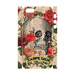 T-TGL(RQ) Iphone 5/5S 3D High-Quality Phone Case Flower skeleton skull with Hard Shell Protection