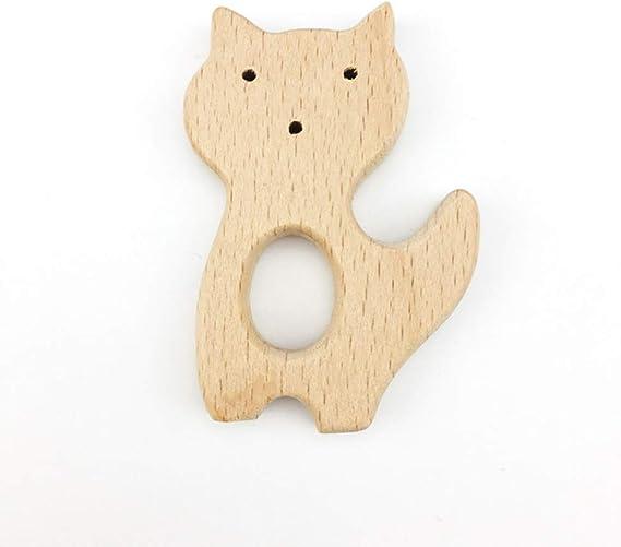 Forma 1 Lezed Juguete Animal de Dentici/ón de Madera para Beb/és Natural de Madera de Bebe Mordedor Juguetes Animal Juguetes Montessori de Animales Colgante Hecho a Mano Juguetes Sensoriales 6 Piezas