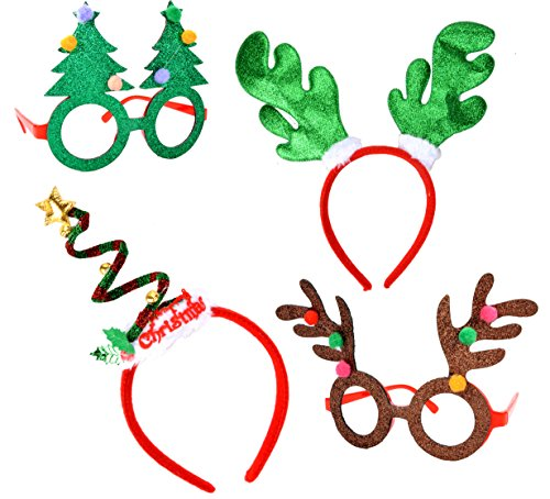 Joyin Toy Christmas & Holiday Party 4 pack with two Fancy Headband and Two Beautiful Party Glasses-Funny Party Hats-Fit All