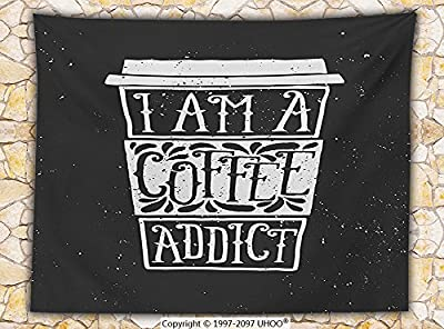 Coffee Decor Fleece Throw Blanket Cup of Coffee with I Am a Coffee Addict and Decorative Elements Chalkboard Style Art Throw
