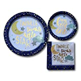 Girl Boy Twinkle Twinkle Baby Shower Paper Plates and Napkins Party Pack Supplies Bundle - Tableware Set Includes Twinkle Twinkle Little Star Dinner Plates - Dessert Plates and Napkins