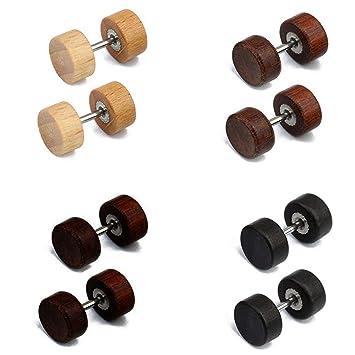 ec9adab16 4 Pairs 8mm Stainless Steel Wood Studs Earrings for Men Women Unisex Ears  Plugs Piercing Tunnel