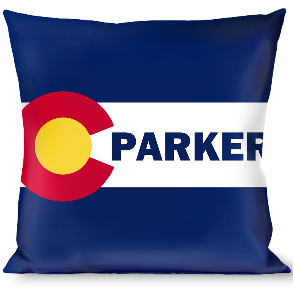 Multicolor Buckle Down Colorado Parker Flag Blue//White//Red//Yellow Throw Pillow