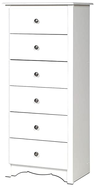 buy popular 0e7ca f4ee4 Amazon.com : White Dresser Chest 6 Drawers Tall Narrow ...