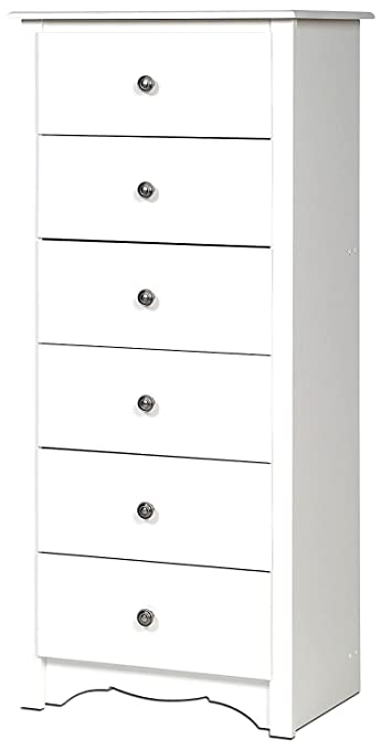 Amazon.com : White Dresser Chest 6 Drawers Tall Narrow Modern Wooden ...