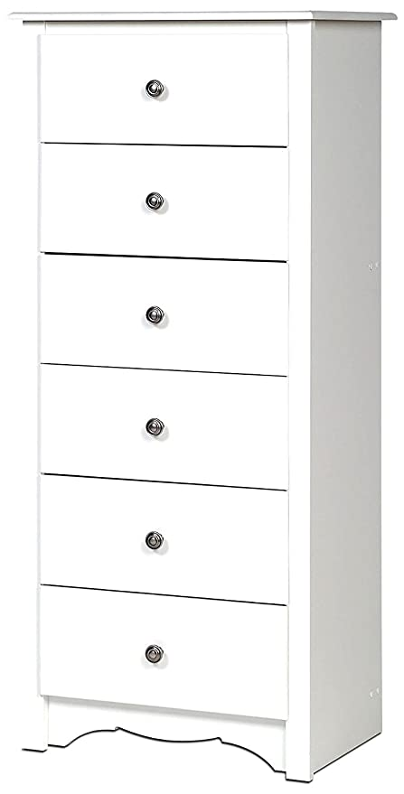 White Dresser Chest 6 Drawers Tall Narrow Modern Wooden Single Baby Kids  Dresser Drawer Storage For