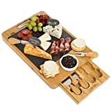Bamboo Cheese Board with Cutlery Set and Drawer - Rustic Wooden Charcuterie Platter and Server Tray with Spreading, Serving, and Cutting Utensils - Cutting Boards with Removable Slate and Chalk
