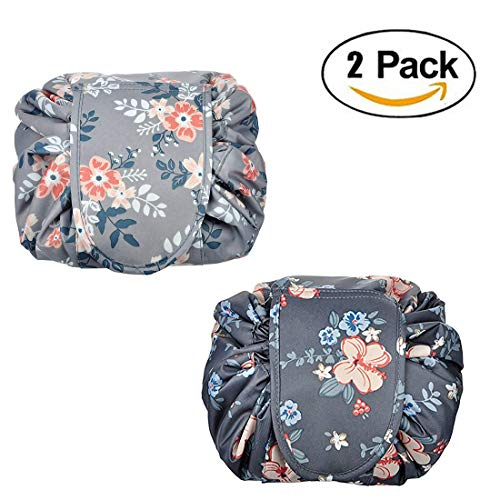 2 Pack Drawstring Lazy Makeup Bag Waterproof Toiletry Bag Fashion Travel Organizer Large Cosmetic Pouch
