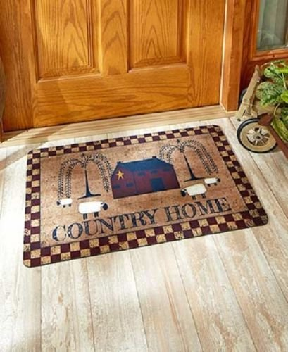 Country Home Artwork Welcome Mat Rug Front Door Entryway Home Decor Accent