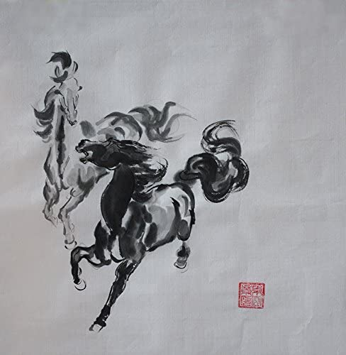 Jiangnanruyi Art Horse Original Hand Painted Artwork Unframed Chinese Brush Ink and Wash Watercolor Painting Drawing Decorations Decor for Office Living Room Bedroom 36 27inch, Artwork-09