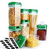 Cereal Container, VERONES 7 Piece Airtight Storage Containers Perfect For Flour Container Cereal Keeper (4 Size 20 pcs Chalkboard Labels Total 6.9 L)