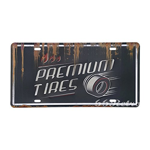 66Retro Premium Tires, Embossed Vintage Tin Sign, Retro Auto License Plate, 30cm x - Hawaii Outlet Premium
