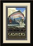 Northwest Art Mall RTFH Cashiers North Carolina Rainbow Trout Fisherman Hills Framed Wall Art by Artist Paul A. Lanquist, 16