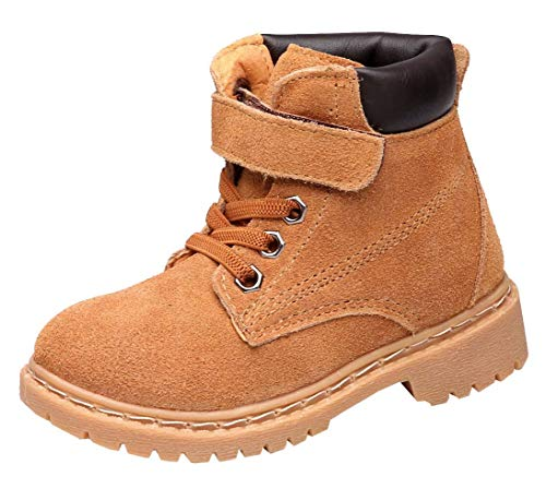 DADAWEN Boy's Girl's Classic Waterproof Leather Outdoor Strap Winter Boots (Toddler/Little Kid/Big Kid) Yellow US Size 9.5 M Toddler]()
