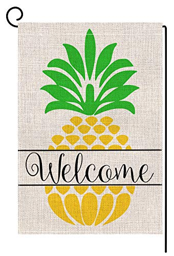 Large Flag Welcome - BLKWHT Pineapple Welcome Quote Small Garden Flag Vertical Double Sided 12 x 18 Inch Outdoor Yard Decor