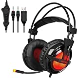 SADES A55 PRO 3.5mm Jack Lightweight Stereo Gaming Headset Headphones for Pro PC Gamer with Microphone LED Light Vibration and Volume-Control Mute Botton(Red)