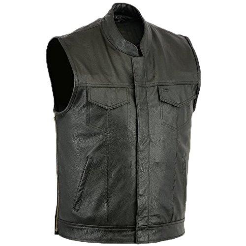 Herren Lederweste, Weste, Kutte, Leder Biker Rocker, Motorrad Clubweste schwarz Größe XL