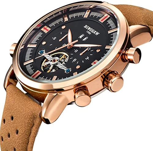 BINSSAW Men Automatic Mechanical Tourbillon Watch Brand Leather Gold Fashion Casual Stainless Steel Sport Watches For Men
