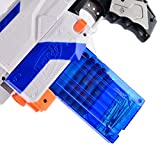 Bullet Clips, Yamix 4 Pack 12 Bullets Dart Gun Clips Ammo Cartridge Magazine Clip For nerf n strike elite blaster kid's toy gun - Transparent Blue