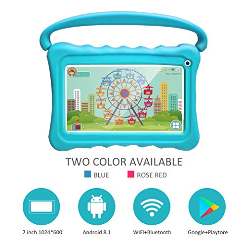 Kids Tablet 7 Toddler Tablet for Kids Edition Tablet with WiFi Camera Children's Tablets Android 8.1 Parental Control with Shockproof Case 1GB + 16GB (Blue)