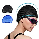 Trevoz Swim Cap, Women Silicone Swimming Cap for Long/Curly/Braids Hair Unisex Adult Kids Bathing Cap, Keep Hair Dry with Nose Clip and Ear Plugs