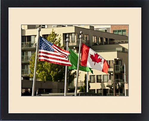 Framed Print of USA, WAshington, Seattle. Flags fly at the the Sail-in parade of the Bell Street by Fine Art Storehouse