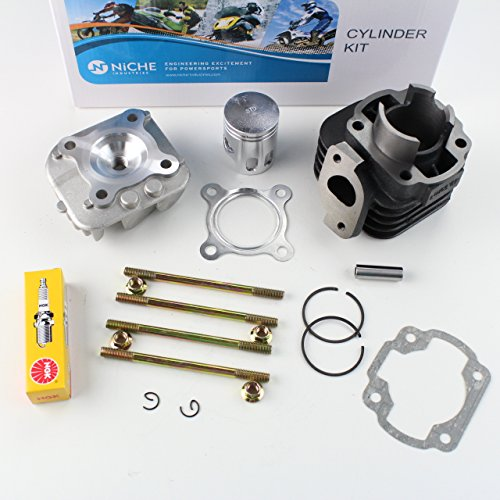 NICHE Cylinder Piston Gasket Cylinder Head Top End Kit for Polaris Scrambler 50 2001-2003