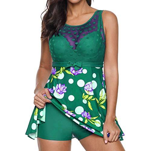 Pengy Women Lace Tankini Sets Sexy Dot Print Bikini Set Swimwear Two Piece Bikini for Lady Green ()