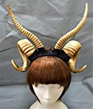 Gothic Antler Sheep Horn Hoop Headband Forest Animal Photography Manual Cosplay Headpieces Party Accessories (Gold)
