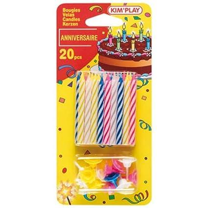 Amazon.com: 20 velas velas de cumpleaños Multicolore: Toys ...
