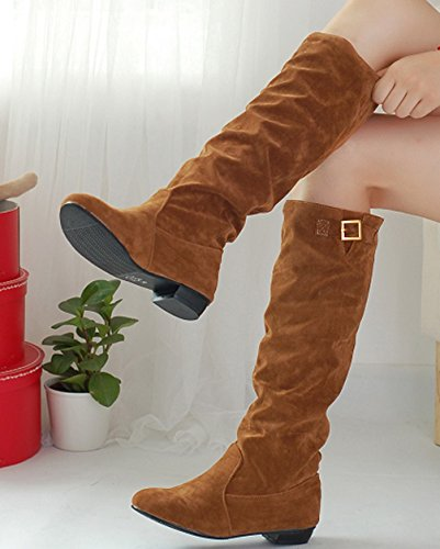 Riding Buckle Decoration Yellow Boots On Mid Suede Calf Fashion Round Ladies Toe VECJUNIA Pull FpPHnn