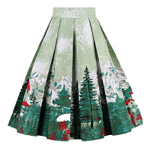 Girstunm Women's Pleated Vintage Skirt Floral Print A-line Midi Skirts with Pockets Christmas-Tree M