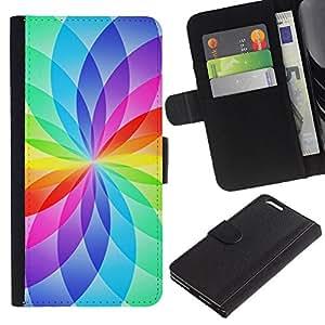 KLONGSHOP // Tirón de la caja Cartera de cuero con ranuras para tarjetas - Floral blanca del arco iris Colores vibrantes - Apple Iphone 6 PLUS 5.5 //