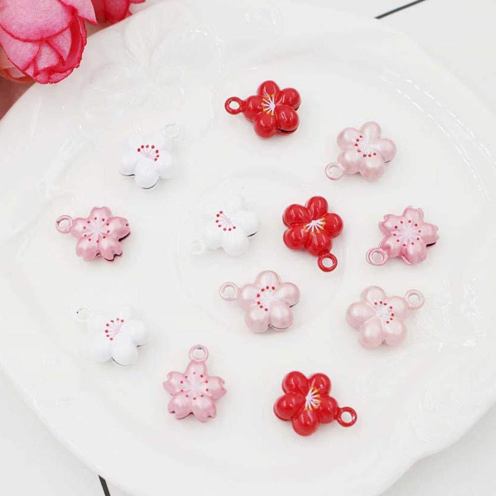 Exttlliy 10Pcs Flower Shape Copper Mini Jingle Bells for Christmas Decoration//DIY Bracelet Anklets//Pets//Arts Crafts Pink + Red