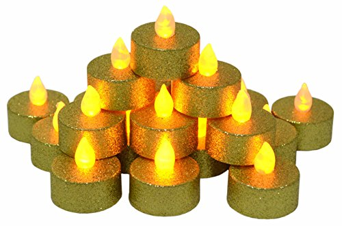 Samyo Set of 24 Led Battery Flameless Votive Tealight Candle Lighting for Wedding Christmas Centerpieces Party Decoration (Gold Glitter)